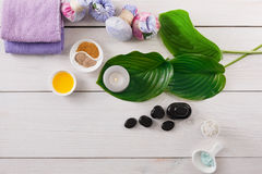 Spa treatment, aromatherapy background. Details and accessories Stock Image