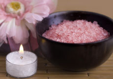 Spa treatment bamboo bath salt Royalty Free Stock Photo
