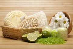Spa treatment - bath salt and massage tools. Spa supplies - bath salt and massage tools royalty free stock photo
