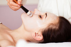 Spa treatment. Beautiful woman with facial mask at beauty salon. stock photography