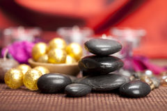 Spa treatment - black stones Royalty Free Stock Image