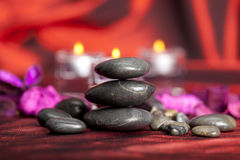 Spa treatment - black stones Royalty Free Stock Photography