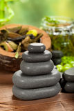 Spa treatment - black stones Royalty Free Stock Images