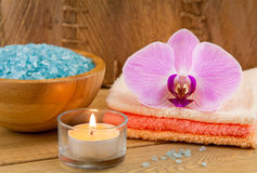 Spa Treatment with candle, orchid and sea salt Stock Photo