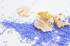 Spa concept with sea shells and bath salt. Spa Treatment Concept with natural lavender bath salt and sea shells on a white wooden table Stock Images