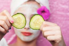 Spa treatment with cucumbers Stock Photos