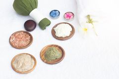 Spa treatment equipments,various body scrub and herbal ball.Wellness body care and aromatherapy concept . stock photo