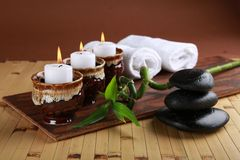 Spa Treatment. Health Spa Massaging Candle Relaxation Zen-like Stone Royalty Free Stock Photos