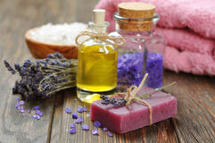Spa treatment. Herbal soap with oil, sea salt and lavander flowers Stock Photo