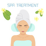 Spa treatment illustration. Woman relaxing in a spa salon. Beauty treatment therapy. Vector illustration Royalty Free Stock Images