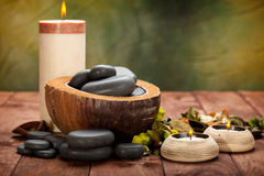 Spa treatment - massage stones. And candles Royalty Free Stock Photos