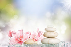 Spa treatment massage stones and pink flower Stock Photo