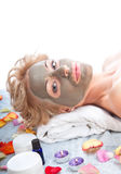 Spa treatment with mud mask royalty free stock images