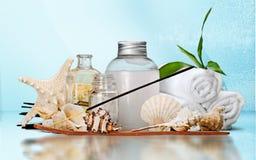 Spa treatment objects. Bar of soap spa treatment moisturizer health spa beauty treatment towel Stock Image
