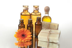 Spa Treatment Oils and Raw Soap Stock Photography