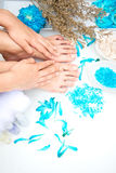 Spa treatment and product for female feet and hand spa, Thailand. select and soft focu Royalty Free Stock Photo