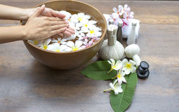 Spa treatment and product for female feet and hand spa Stock Image