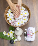 Spa treatment and product for female feet and hand spa Stock Photos