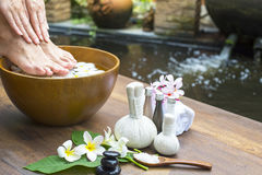 Spa treatment and product for female feet and hand spa Royalty Free Stock Photo