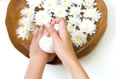 Spa treatment and product for female feet and hand spa, Thailand. Royalty Free Stock Image