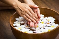 Spa treatment and product for female feet and hand spa stock images