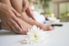 Spa treatment and product for female feet spa, Thailand. Select and soft focus. Spa treatment and product for female feet spa with folower, Thailand. Select and stock image