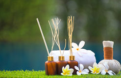 Spa treatment and product for hand and foot spa with flowers and water Royalty Free Stock Photo
