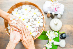 Spa treatment and product for hand spa. Royalty Free Stock Photo
