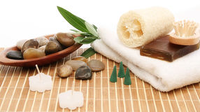 Spa treatment products Royalty Free Stock Photos