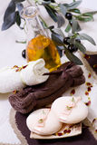 Spa treatment - relax with olive oil Royalty Free Stock Photos