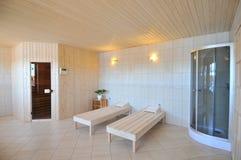 Spa Treatment Room. The interior of a white spa treatment room Stock Photo