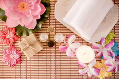 Spa treatment, rose aroma oil and soap bar. Top view. Royalty Free Stock Images