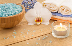 Spa Treatment with sea salt, towels stock images