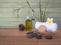 Spa treatment and soap with towel Stock Image