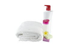 Spa treatment with soap towels and flower on white background Royalty Free Stock Photo