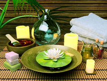 Spa treatment. Spa Setting with Essence Oil,Natural Soap Stock Photo