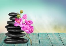 Spa treatment. Stone feng shui rock healthy lifestyle wellbeing pebble royalty free stock images