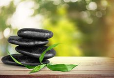 Spa treatment. Stone zen-like leaf mint wellbeing lastone therapy stock images