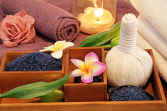 Spa treatment still life with candle Royalty Free Stock Photography
