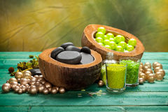 Spa treatment - stones and bath salt Stock Photography