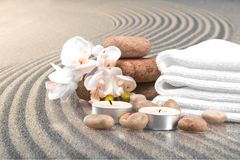 Spa Treatment. Towel Candle Health Spa Single Flower Flower Stone stock photography