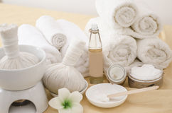 Spa treatment with towels and herbal creams Royalty Free Stock Photography