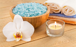 Spa Treatment with white orchid and sea salt Stock Photography