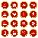 Spa treatments icon red circle set Royalty Free Stock Photography