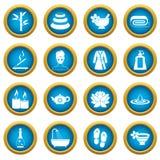 Spa treatments icons blue circle set Stock Image