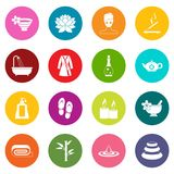 Spa treatments icons many colors set Stock Images
