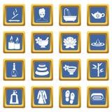 Spa treatments icons set blue Royalty Free Stock Image