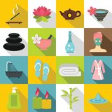 Spa treatments icons set, flat style. Spa treatments icons set. Flat illustration of 16 spa treatments icons for web royalty free illustration
