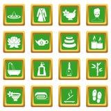 Spa treatments icons set green Royalty Free Stock Photos