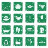 Spa treatments icons set grunge Royalty Free Stock Photo